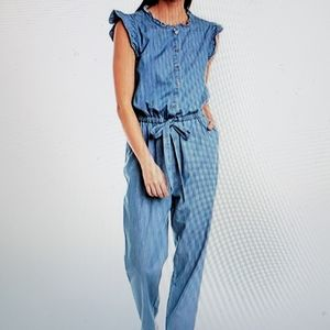 CeCe Women's Short Sleeves Denim Cotton Jumpsuit.